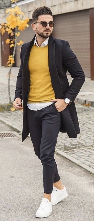 How to wear: black overcoat, yellow crew-neck sweater, white dress shirt, black chinos