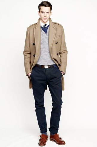 How to wear: camel overcoat, grey crew-neck sweater, white dress shirt, navy chinos