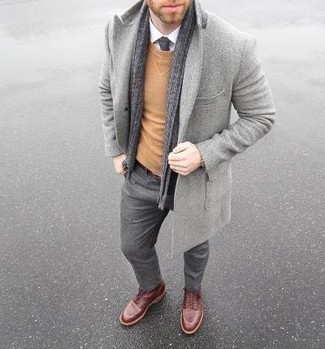 Dark Brown Leather Belt Outfits For Men: The combo of a grey overcoat and a dark brown leather belt makes for a cool off-duty ensemble. To give your overall outfit a more refined feel, why not throw in a pair of burgundy leather casual boots?