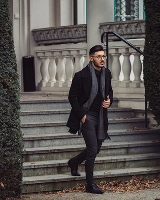 Socks Outfits For Men: This casual combo of a black overcoat and socks is clean, on-trend and super easy to recreate. If you want to instantly ramp up your look with one piece, why not grab a pair of black leather derby shoes?