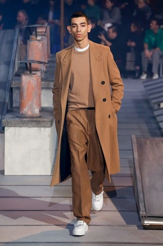 How to wear: camel overcoat, tan crew-neck sweater, white henley shirt, brown dress pants