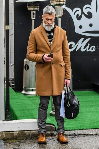How to wear: camel overcoat, black and white fair isle crew-neck sweater, charcoal jeans, brown leather brogues