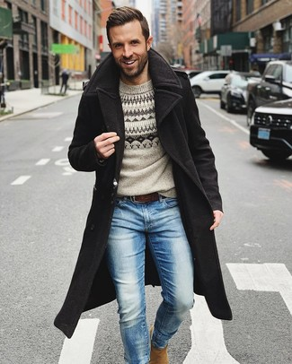 How to wear: black overcoat, grey fair isle crew-neck sweater, light blue jeans, tan suede chelsea boots