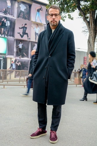 How to Wear a Black Scarf For Men: A black overcoat and a black scarf are the kind of a tested casual ensemble that you so desperately need when you have zero time. Burgundy suede low top sneakers integrate well within a great deal of getups.