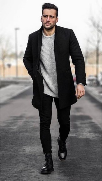 How to Wear Black Jeans For Men: Breathe casual sophistication into your daily fashion mix with a black overcoat and black jeans. Let your styling chops really shine by rounding off this ensemble with black leather casual boots.
