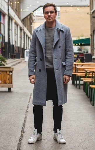 Men's Light Blue Overcoat, Grey Horizontal Striped Crew-neck Sweater, Black Jeans, White Leather Low Top Sneakers