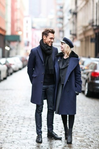 How to Wear a Navy Overcoat: Marrying a navy overcoat and navy jeans is a surefire way to inject your closet with some masculine elegance. You can take a more elegant route in the shoe department by rocking a pair of black leather double monks.