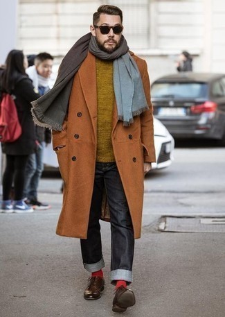 Brown Scarf Outfits For Men: A tobacco overcoat and a brown scarf combined together are a sartorial dream for those dressers who prefer casual outfits. Clueless about how to finish off this look? Wear brown leather derby shoes to bump up the wow factor.