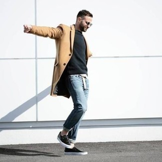 Black Leather Slip-on Sneakers Outfits For Men: For a look that's casually smart and camera-worthy, choose a camel overcoat and light blue jeans. On the fence about how to round off? Complement your look with a pair of black leather slip-on sneakers for a more relaxed finish.