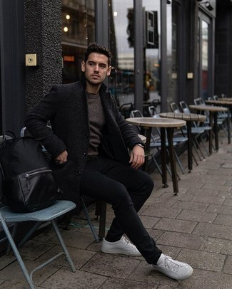 Black Jeans Outfits For Men: This pairing of a charcoal overcoat and black jeans looks sharp, but it's extremely easy to wear too. If you wish to immediately play down your outfit with a pair of shoes, introduce white canvas low top sneakers to the equation.