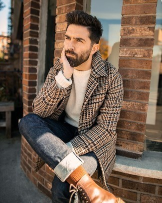 Brown Leather Casual Boots Outfits For Men: Marrying a camel houndstooth overcoat with charcoal jeans is an amazing idea for an effortlessly classic look. Brown leather casual boots look right at home with this look.