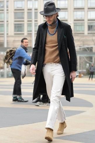Men's Black Overcoat, Tan Crew-neck Sweater, Blue Chambray Long Sleeve Shirt, White Chinos