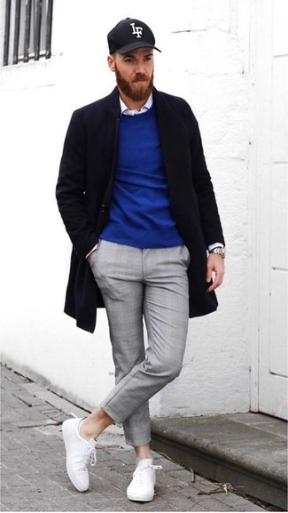 How to wear: black overcoat, blue crew-neck sweater, white long sleeve shirt, grey chinos