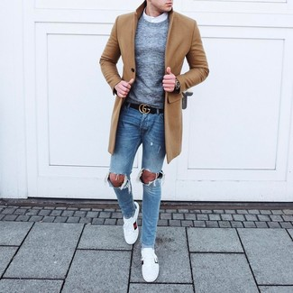How to wear: camel overcoat, grey crew-neck sweater, white long sleeve shirt, light blue ripped skinny jeans