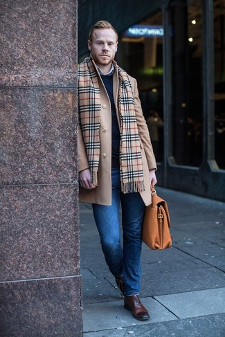 How to Wear a Scarf For Men: A camel overcoat and a scarf are a wonderful pairing to add to your day-to-day rotation. Make your getup a bit dressier by rounding off with dark brown leather oxford shoes.
