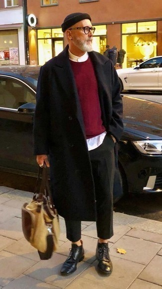 How to Wear Black Leather Dress Boots For Men: Pairing a black overcoat and dark green chinos is a fail-safe way to inject your day-to-day styling arsenal with some laid-back sophistication. Why not complement your look with a pair of black leather dress boots for a hint of refinement?