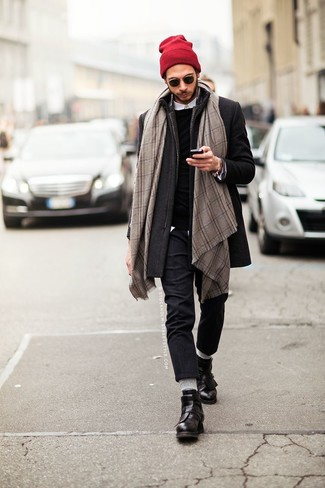 How to wear: charcoal overcoat, black crew-neck sweater, white long sleeve shirt, charcoal wool dress pants
