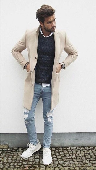 Which Crew-neck Sweater To Wear With a Beige Overcoat: For a look that's worthy of a modern fashion-savvy gentleman and casually sleek, pair a beige overcoat with a crew-neck sweater. Dial down this ensemble by wearing a pair of white athletic shoes.