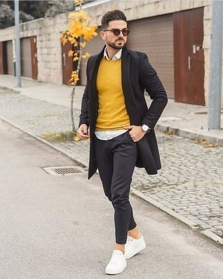 How to Wear a White Long Sleeve Shirt For Men: If you would like take your casual style up a notch, wear a white long sleeve shirt with charcoal chinos. To give your overall ensemble a more relaxed twist, introduce white canvas low top sneakers to your getup.