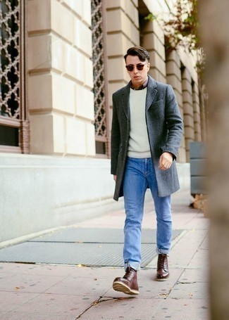 How to Wear a White Crew-neck Sweater For Men: A white crew-neck sweater looks especially cool when married with light blue jeans. If you want to instantly elevate your look with a pair of shoes, complete this getup with brown leather casual boots.