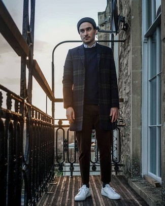 How to Wear a Navy Beanie For Men: For a casual ensemble, choose a navy plaid overcoat and a navy beanie — these items play really well together. Go off the beaten track and switch up your getup by wearing white canvas low top sneakers.
