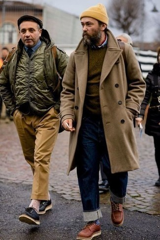 Brown Coat with Jeans Outfits For Men After 50: Go for a pared down yet seriously stylish choice marrying a brown coat and jeans. And if you need to easily spruce up this outfit with shoes, why not throw in brown leather derby shoes? A fail-safe option getup appropriate for 50-year-old men.