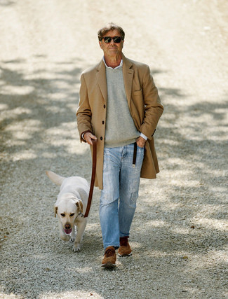 Light Blue Ripped Jeans Outfits For Men After 50: Try teaming a camel overcoat with light blue ripped jeans to demonstrate you've got expert styling prowess. Introduce a more relaxed touch to with a pair of brown athletic shoes. Wondering how to perfect casual dressing as you slip into your 50s? This combo is the perfect answer.