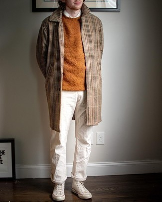 White Canvas High Top Sneakers Cold Weather Outfits For Men: You'll be surprised at how super easy it is for any gentleman to pull together this effortlessly neat outfit. Just a camel houndstooth overcoat married with white chinos. Feeling bold today? Dress down this ensemble by slipping into white canvas high top sneakers.