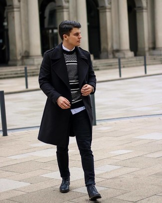 1200+ Cold Weather Outfits For Men: Pairing a black overcoat with black jeans is a savvy pick for a casually sleek outfit. Look at how well this outfit goes with a pair of black leather casual boots.