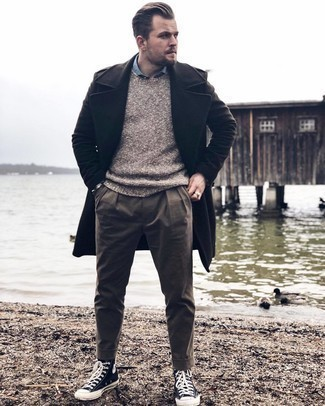 Light Blue Long Sleeve Shirt Outfits For Men: For comfort dressing with a twist, you can wear a light blue long sleeve shirt and brown chinos. Unimpressed with this outfit? Invite a pair of black and white canvas high top sneakers to shake things up.