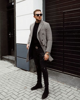 How to wear: black and white gingham overcoat, black crew-neck sweater, black ripped skinny jeans, black suede chelsea boots