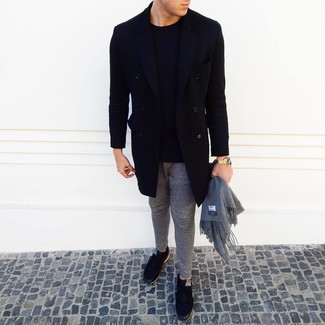 How to wear: black overcoat, black crew-neck sweater, grey sweatpants, black low top sneakers