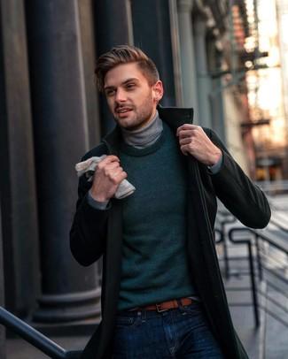 How to wear: dark green overcoat, dark green crew-neck sweater, grey turtleneck, navy jeans
