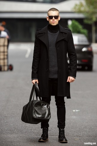 Men's Black Overcoat, Charcoal Crew-neck Sweater, Black Turtleneck, Black Jeans