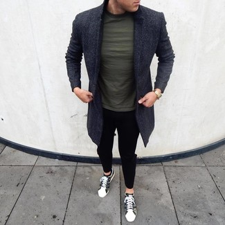 How to Wear Black No Show Socks For Men: A charcoal overcoat and black no show socks are a bold casual pairing that every fashion-savvy man should have in his casual styling arsenal. If not sure about the footwear, go with olive camouflage low top sneakers.