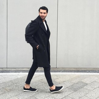 How to Wear a Black Beaded Bracelet For Men: An on-trend pairing of a black overcoat and a black beaded bracelet will bring confidence and you'll carry yourself with more self-assurance. Feeling inventive today? Shake things up by sporting a pair of black slip-on sneakers.