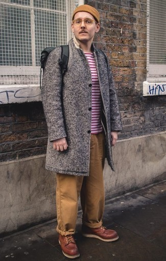 How to Wear a Tan Beanie For Men: A grey overcoat and a tan beanie are a good outfit formula to have in your casual wardrobe. Ramp up this whole ensemble by wearing a pair of burgundy leather casual boots.