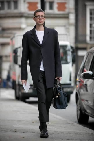 How to Wear a Navy Canvas Briefcase: This combo of a black overcoat and a navy canvas briefcase is extremely easy to throw together and so comfortable to work throughout the day as well! Complete this ensemble with a pair of black leather derby shoes to easily turn up the wow factor of your outfit.