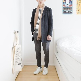661+ Outfits For Men In Their Teens: For relaxed sophistication with a masculine spin, you can opt for a charcoal overcoat and grey chinos. Our favorite of a countless number of ways to finish this look is with a pair of white canvas low top sneakers. And if we're talking fashion tips for teen guys, this outfit suits almost any man.