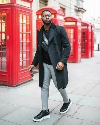 Black and White Leather Low Top Sneakers Outfits For Men: Go for a straightforward but sophisticated option putting together a black overcoat and grey plaid chinos. Dress down this outfit with black and white leather low top sneakers.
