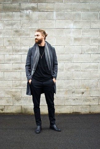 Gold Bracelet Outfits For Men: A charcoal overcoat and a gold bracelet are great menswear essentials that will integrate nicely within your casual routine. You can take a more classic route when it comes to shoes by rocking black leather chelsea boots.