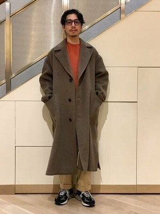 Brown Overcoat Outfits: A brown overcoat and khaki chinos are the perfect way to introduce some refinement into your day-to-day collection. For something more on the casually edgy side to round off your look, complement this getup with black and white athletic shoes.