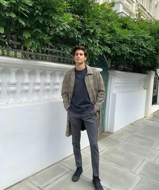 Charcoal Chinos Outfits: For a look that's super straightforward but can be smartened up or dressed down in plenty of different ways, dress in an olive plaid overcoat and charcoal chinos. Clueless about how to finish off? Introduce black canvas high top sneakers to your look for a more casual vibe.