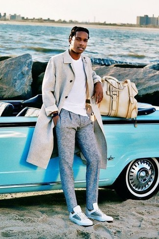 How to wear: grey overcoat, white crew-neck t-shirt, grey wool dress pants, white leather low top sneakers