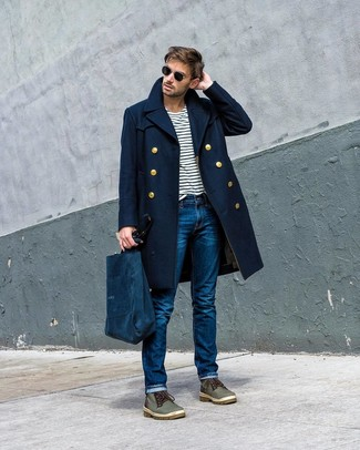 How to wear: navy overcoat, white and navy horizontal striped crew-neck t-shirt, blue jeans, olive leather casual boots