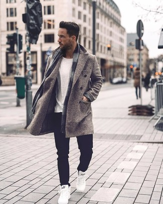 How to Wear White High Top Sneakers For Men: Putting together a grey check overcoat and black jeans is a surefire way to inject your styling repertoire with some manly refinement. Ramp up this whole look by rounding off with white high top sneakers.