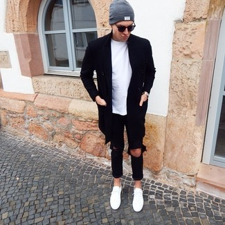 How to wear: black overcoat, white crew-neck t-shirt, black ripped jeans, white low top sneakers