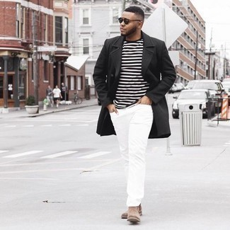 How to Wear a Black and White Crew-neck T-shirt In Cold Weather For Men: The pairing of a black and white crew-neck t-shirt and white jeans makes for a solid relaxed look. Step up your outfit by rounding off with a pair of brown suede chelsea boots.