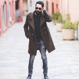 How to Wear Black Leather Casual Boots For Men: Go for something casually classic yet timeless in a dark brown overcoat and grey jeans. Black leather casual boots are a winning footwear option here that's also full of character.