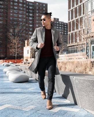 Tan Suede Chelsea Boots with Black Jeans Smart Casual Fall Outfits For Men: This combo of a grey plaid overcoat and black jeans is a must-try effortlessly sleek outfit for today's gentleman. Perk up your getup by rocking a pair of tan suede chelsea boots. When it's one of those bleak fall days, sometimes only a kick-ass ensemble like this one can get you out the door in the morning.